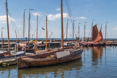 Dutch harbor of Urk with traditional wooden fishing boats Royalty Free Stock Photo