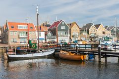 Dutch harbor of Urk with wooden fishing ships Royalty Free Stock Photos