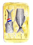 Dutch herring in water color royalty free stock photography
