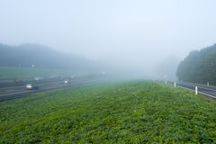 Dutch highway and driveway on a misty morning Stock Images