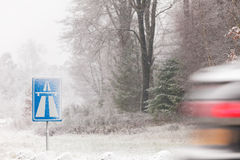 Dutch highway sign in winter royalty free stock image