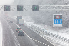 Dutch highway during winter snow Royalty Free Stock Images
