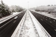 Dutch highway in winter with snow stock image