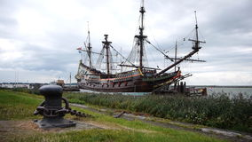 Dutch historic ship in harbor. Replica of the Dutch historic ship the Batavia. The Batavia was sailing the seas during the Dutch Golden Age. It was a period in stock video footage