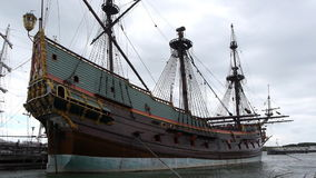Dutch historic ship in harbor, side view. Side view from the replica of the Dutch historic ship the Batavia. The Batavia was sailing the seas during the Dutch stock footage