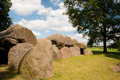 Dutch historical grave. Called a hunebed in Drenthe Royalty Free Stock Image