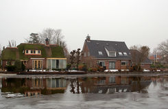 Dutch houses. Near the river Royalty Free Stock Photos