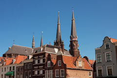 Dutch houses. Historic dutch houses in Delft. The Netherlands Stock Photo