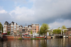 Dutch Houses by the Amstel River in Amsterdam Stock Photography