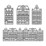 Dutch houses, Amsterdam buildings, Holland or Netherlands icons. Old traditional Dutch houses, town or city buildings in Netherlands design stock illustration