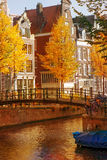 Dutch houses in autumn Royalty Free Stock Image