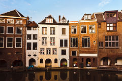 Dutch Houses by Canal. Dutch houses at Oudegracht canal in Utrecht, Netherlands stock photos
