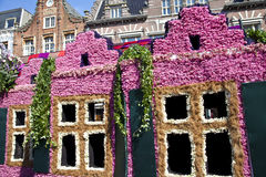 Dutch houses with flowers Stock Photo