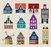 Dutch houses. Vector illustration of simple classic holland houses collection Royalty Free Illustration