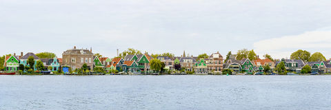 Dutch houses in a village panorama, Zaanse Schans Royalty Free Stock Photography