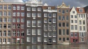 Dutch houses on waterside, Amsterdam stock footage