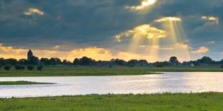 Dutch IJssel river landscape stock photos