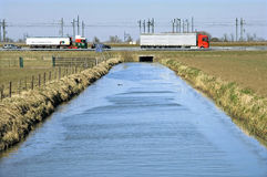 Dutch infrastructure: waterworks, highway and railroad Stock Photos