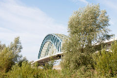 Dutch Iron bridge crossing the river IJssel Stock Images