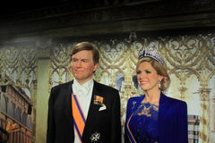Dutch king and queen. Dutch king willem alexander and queen maxima zorreguieta in the dutch madamme tussauds. Taken on 30-12-2014 Royalty Free Stock Photos