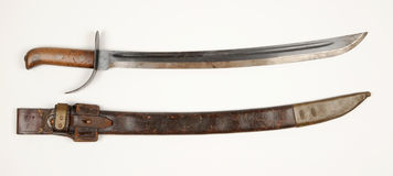 Dutch Klewang sword M1898. Dutch Klewang Marechausse short sword Model M1898. This example has been modified by the Japanese for issue to their troops during Royalty Free Stock Photography