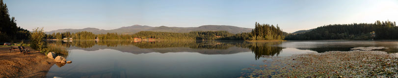 Dutch Lake mirror finish. Panorama of Dutch lake Clearwater Stock Photography