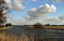 Dutch landscape. River view Stock Photos