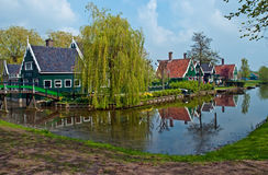 Dutch landscape . Typical Dutch landscape - houses along the canal stock images
