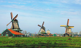 Dutch landscape. With traditional windmills in Zaanse Schans Royalty Free Stock Photography