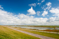Dutch landscape behind the dike Royalty Free Stock Images