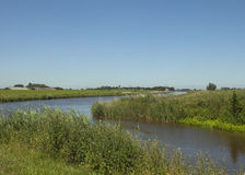 Dutch landscape with canal and village Royalty Free Stock Photo