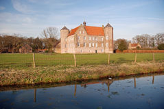 Dutch landscape- Castle Croy and farms- Laarbeek. Dutch landscape with moat around castle Croy and farms - Laarbeek - Noord-Brabant - Netherlands royalty free stock images