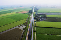 Dutch Landscape with channel from the air Royalty Free Stock Photo