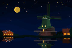 Dutch landscape at night Royalty Free Stock Photo