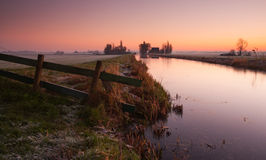 Dutch landscape at sunrise Royalty Free Stock Photo