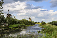 Dutch landscape with three mills Stock Photography