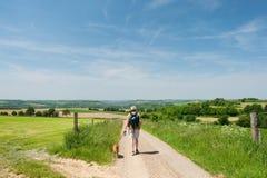 Dutch landscape with walking man stock photos