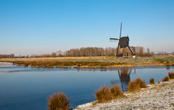 Dutch landscape with a windmill Royalty Free Stock Photo