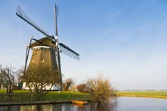 Dutch landscape with windmill Royalty Free Stock Image