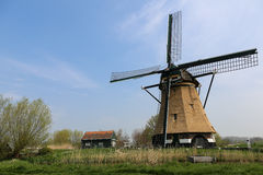Dutch landscape with a windmill Royalty Free Stock Image