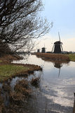 Dutch landscape with windmills Royalty Free Stock Image