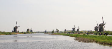 Dutch landscape with windmills. Royalty Free Stock Photography