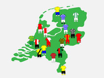 Dutch League Clubs Map 2013-14 Royalty Free Stock Photos
