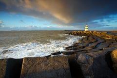 Dutch lighthouse in IJmuiden Stock Photos