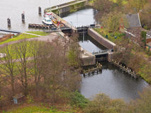 Dutch lock chamber. System seen from above Royalty Free Stock Photography