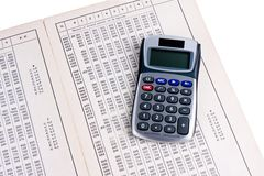 Dutch logarithm table with calculator Stock Photo