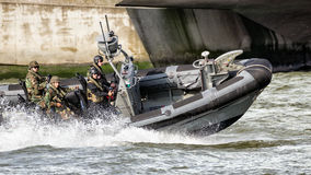 Dutch Marines in a speedboat Royalty Free Stock Image
