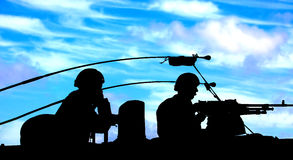 Dutch marines upon tank Royalty Free Stock Photography