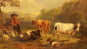 Dutch master painting cows antique Royalty Free Stock Image