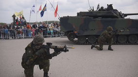 Dutch military vehicle and army in action stock video footage